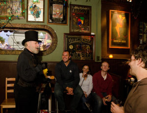Tour guide Cliff in Bertha's during Original Fells Point Baltimore Haunted Pub Crawl Tour